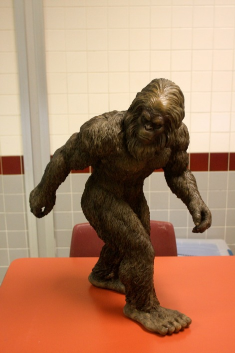 This three-foot tall hand-crafted sasquatch was donated by Design Toscano (www.designtoscano.com), and was won in a raffle drawing by Sandy, the Alaskan over-the-road truck driver who attends most of the bigfoot conferences across the continent. Photo: Alex Diaz