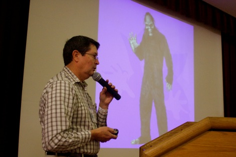 Alton Higgins gives an interesting presentation about hoaxes and misidentified photos. Photo: Alex Diaz