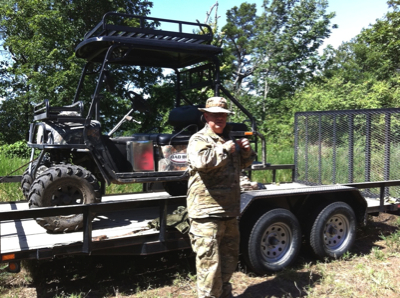 Paul Bowman prepares the Bad Boy Buggie for use during Operation Endurance.