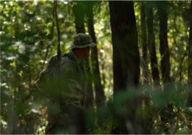 Daryl Colyer searching through the dense forest.
