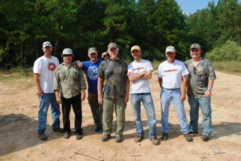 Marty Halgrimson, Audio Engineer, Video Arts Studios; Jerry Hestand, Daryl Colyer and Mark Porter of the TBRC; Troy Parkinson, Field Producer, and Mitch Lee, Director of Photography, Video Arts Studios; and Ken Stewart of the TBRC on location in Southwest Arkansas.