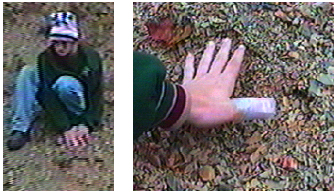 Figure 3. The print is below the man's hands in the left image. Although they did not show up clearly in the pictures, ridges were observed between fingers by the witnesses.