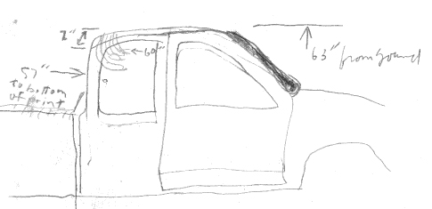 "Figure 4. Field sketch showing position of ""Gamma"" handprint on rear part of roof."