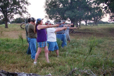 The range qualification was done in groups of five. Each shooter had an observer. Photo by Jerry Hestand.