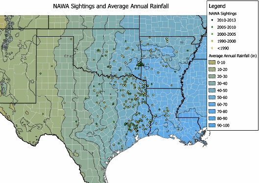 From west to east in the four-state region, annual rainfall totals increase greatly.  Alleged wood ape encounters seem to mostly correspond with higher annual rainfall totals.  GIS rainfall/sightings map by Ed Harrison.